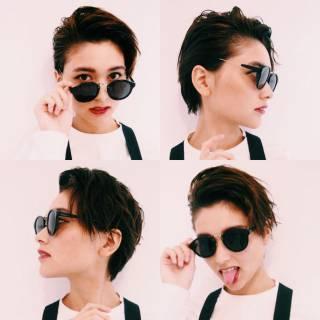 外国人風 ニュアンス ショート モード ヘアスタイルや髪型の写真・画像