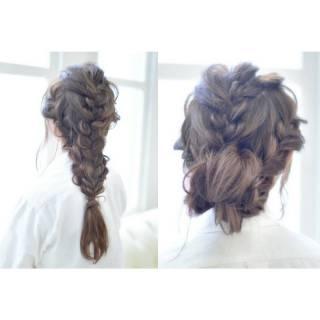 ロング モテ髪 編み込み ナチュラル ヘアスタイルや髪型の写真・画像