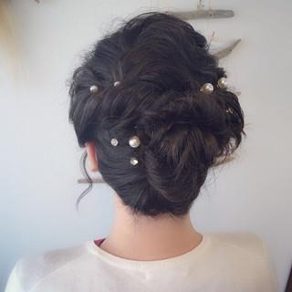 ヘアアレンジ ゆるふわ ミディアム 結婚式 ヘアスタイルや髪型の写真・画像