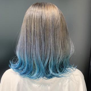 ミディアム デザインカラー ガーリー 裾カラー ヘアスタイルや髪型の写真・画像