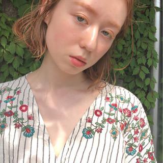 透明感 ボブ アプリコットオレンジ オレンジ ヘアスタイルや髪型の写真・画像