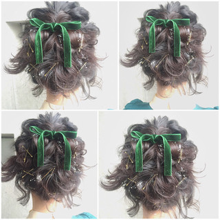 簡単ヘアアレンジ ボブ ハーフアップ フェミニン ヘアスタイルや髪型の写真・画像 ヘアスタイルや髪型の写真・画像