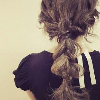 編み込み ハーフアップ ゆるふわ ロング ヘアスタイルや髪型の写真・画像 ヘアスタイルや髪型の写真・画像