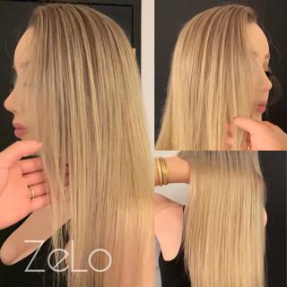 外国人風カラー ホワイトハイライト バレイヤージュ ロング ヘアスタイルや髪型の写真・画像