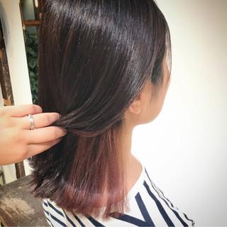 切りっぱなし ボブ ピンク インナーカラー ヘアスタイルや髪型の写真・画像
