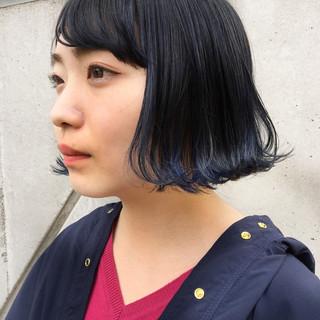 暗髪 ボブ ブルー ストリート ヘアスタイルや髪型の写真・画像