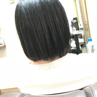 グレージュ ロブ ボブ 暗髪 ヘアスタイルや髪型の写真・画像