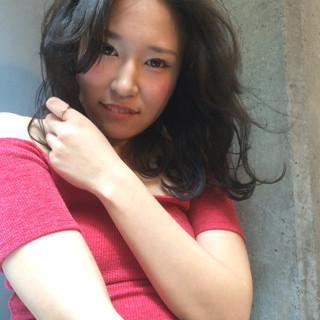 ロブ ミディアム フェミニン 夏 ヘアスタイルや髪型の写真・画像