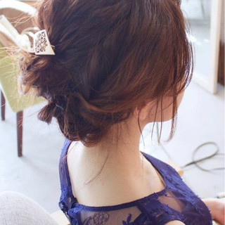 ミディアム デート 結婚式 ヘアアレンジ ヘアスタイルや髪型の写真・画像