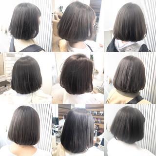 グレージュ ストレート 前髪 縮毛矯正 ヘアスタイルや髪型の写真・画像