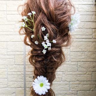 ヘアアレンジ フィッシュボーン ガーリー ポニーテール ヘアスタイルや髪型の写真・画像