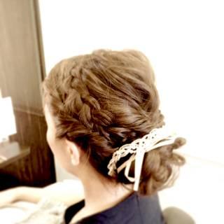 ロング 波ウェーブ ヘアアレンジ コンサバ ヘアスタイルや髪型の写真・画像