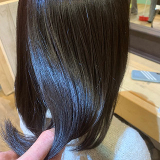 ブルージュ ブリーチなし ミディアム ダークアッシュ ヘアスタイルや髪型の写真・画像