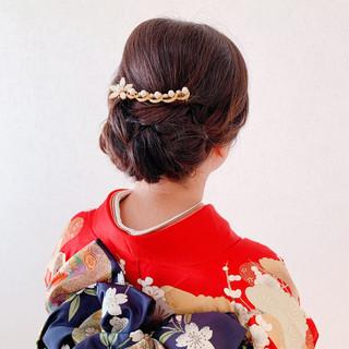 エレガント 結婚式 セミロング お呼ばれ ヘアスタイルや髪型の写真・画像