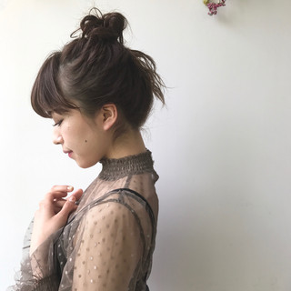ハーフアップ ミルクティー ミディアム ショート ヘアスタイルや髪型の写真・画像 ヘアスタイルや髪型の写真・画像