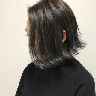 フェミニン 黒髪 アッシュ ボブ ヘアスタイルや髪型の写真・画像