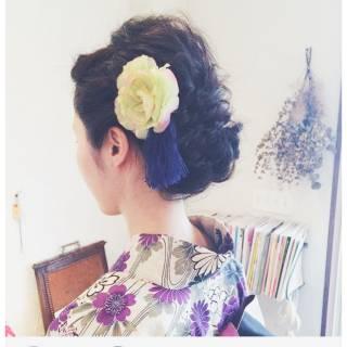 夏 編み込み 和装 ゆるふわ ヘアスタイルや髪型の写真・画像