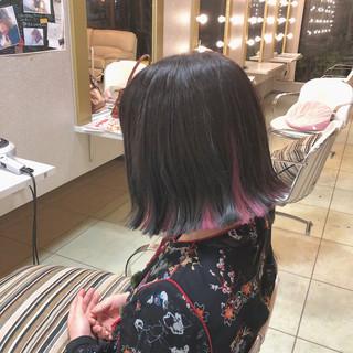 ガーリー ヘアアレンジ ロブ インナーカラー ヘアスタイルや髪型の写真・画像