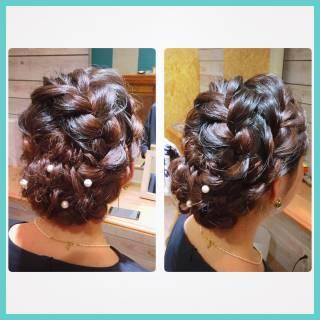 パーティ 編み込み セミロング 大人かわいい ヘアスタイルや髪型の写真・画像