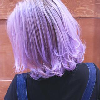 グラデーションカラー ガーリー パープル ボブ ヘアスタイルや髪型の写真・画像