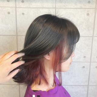 モード ラベンダーピンク ボブ ピンクラベンダー ヘアスタイルや髪型の写真・画像