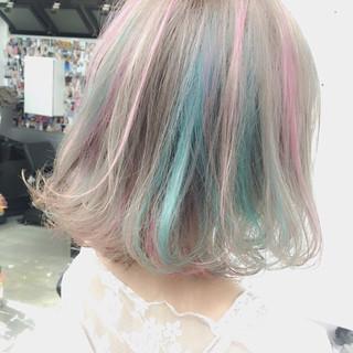 グラデーションカラー ハイライト ゆるふわ フェミニン ヘアスタイルや髪型の写真・画像