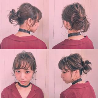 パーティ くせ毛風 ミディアム アップスタイル ヘアスタイルや髪型の写真・画像
