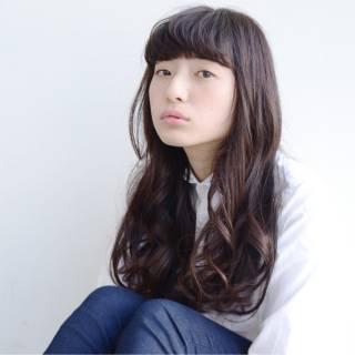 暗髪 セミロング 前髪パッツン 大人かわいい ヘアスタイルや髪型の写真・画像