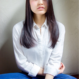 黒髪 ナチュラル ロング ストレート ヘアスタイルや髪型の写真・画像 ヘアスタイルや髪型の写真・画像