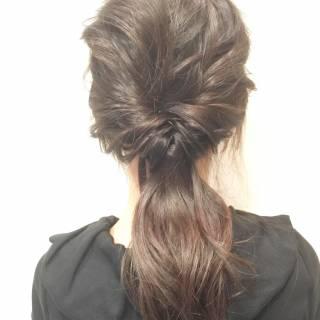 ショート ヘアアレンジ 簡単ヘアアレンジ ローポニーテール ヘアスタイルや髪型の写真・画像