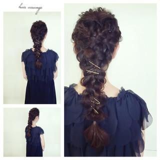 三つ編み ロング 編み込み ヘアピン ヘアスタイルや髪型の写真・画像