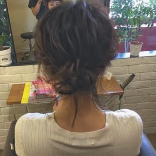 デート ナチュラル お団子 ボブ ヘアスタイルや髪型の写真・画像