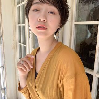 大人可愛い フェミニン 透明感カラー 小顔ショート ヘアスタイルや髪型の写真・画像