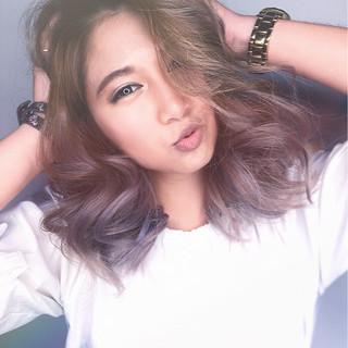 ミディアム ハイライト 外国人風 ミルクティー ヘアスタイルや髪型の写真・画像