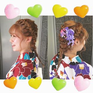 セミロング お祭り 夏 和装 ヘアスタイルや髪型の写真・画像