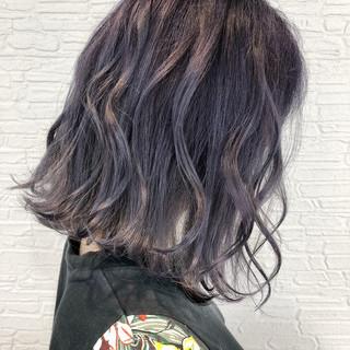 モード ラベンダー パープルカラー ラベンダーグレージュ ヘアスタイルや髪型の写真・画像