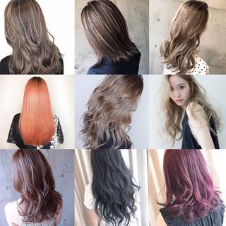 ロング ナチュラル 大人ハイライト ピンクパープル ヘアスタイルや髪型の写真・画像