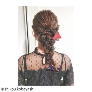 ロング 結婚式 二次会 編み込み ヘアスタイルや髪型の写真・画像