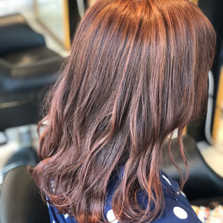 ストリート ブリーチ ピンク セミロング ヘアスタイルや髪型の写真・画像