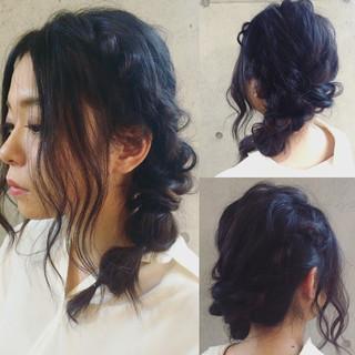 ショート ルーズ セミロング くるりんぱ ヘアスタイルや髪型の写真・画像
