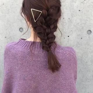 かわいい ヘアアレンジ フェミニン 編み込み ヘアスタイルや髪型の写真・画像
