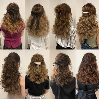 編み込み フェミニン ルーズ ハーフアップ ヘアスタイルや髪型の写真・画像