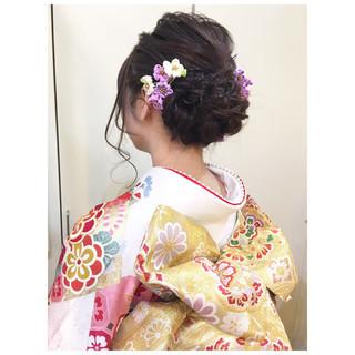 成人式 着物 ミディアム フェミニン ヘアスタイルや髪型の写真・画像
