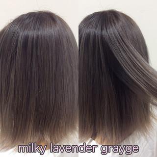 グラデーションカラー ヘアカラー ラベンダーグレージュ ボブ ヘアスタイルや髪型の写真・画像