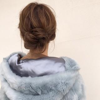 セミロング 大人女子 まとめ髪 簡単ヘアアレンジ ヘアスタイルや髪型の写真・画像