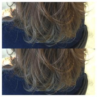 ミディアム グラデーションカラー ハイライト 外国人風 ヘアスタイルや髪型の写真・画像