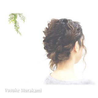 ハーフアップ ヘアアレンジ ミディアム 結婚式 ヘアスタイルや髪型の写真・画像