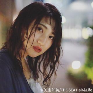 ミディアム 外国人風 アンニュイ シースルーバング ヘアスタイルや髪型の写真・画像