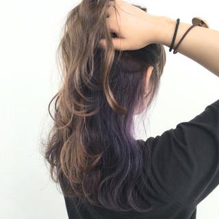 かき上げ前髪 ストリート カラーバター セミロング ヘアスタイルや髪型の写真・画像