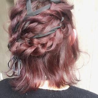 ゆるふわ ボブ ヘアアレンジ ハーフアップ ヘアスタイルや髪型の写真・画像